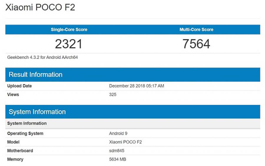 Xiaomi Pocophone F2 Leaked Geekbench - Xiaomi Pocophone F2 specs and price in kenya, Nigeria & Ghana